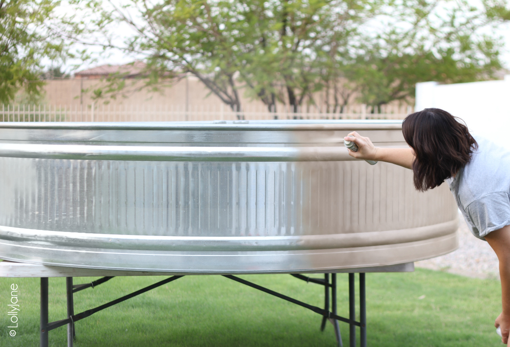 How to Paint a Stock Tank Pool, easier than you think and check out this color: champagne gold! Oooh la la! #stocktank #paintedstocktank #stocktankpool #paintedproject #diy