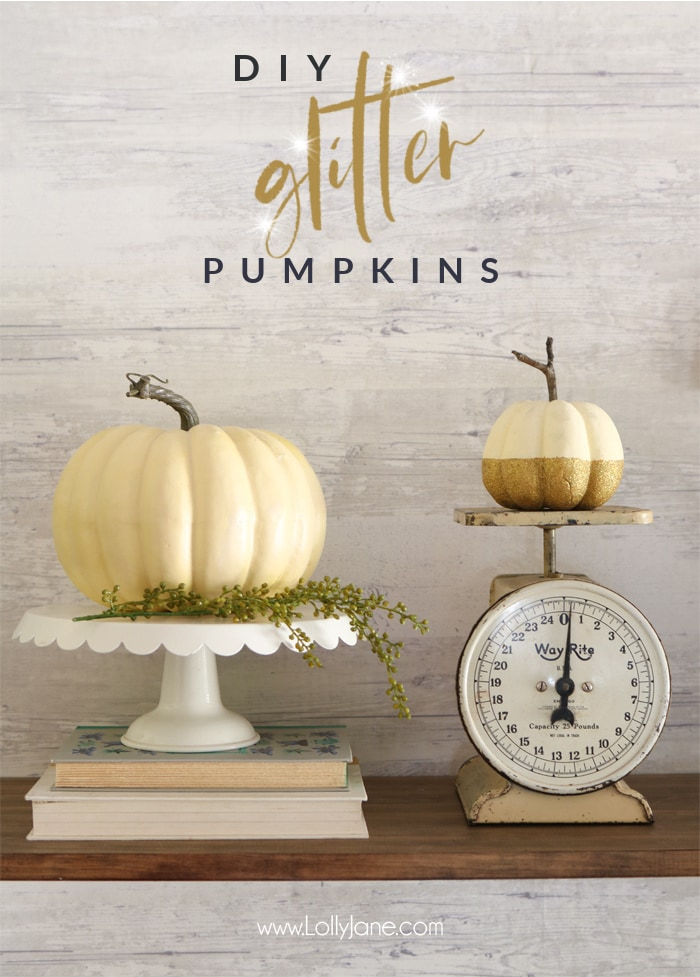 Make ANY pumpkin, real or fake, wood or plastic... shine! EASY to make Glitter Pumpkins. #falldecor #falldecoration #fallcraft #fallcrafts #pumpkincrafts #pumpkincraft #pumpkin