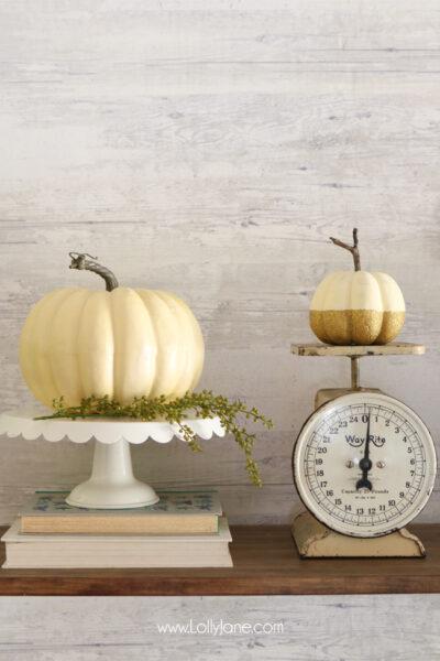 EASY to make Glitter Pumpkins. Make ANY pumpkin, real or faux, shine! #falldecor #falldecoration #fallcraft #fallcrafts #pumpkincrafts #pumpkincraft #pumpkin