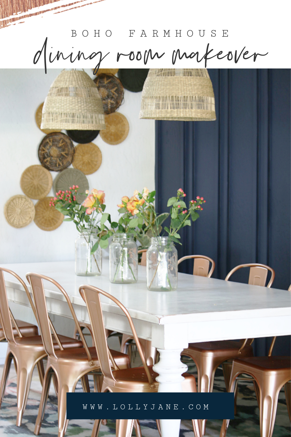Lots of easy boho dining room decor ideas. We made this whole room over for just over $200!! #bohodecor #bohodiningroom #bohofarmhousedecor #diningroommakeover #basketwall #paintedchairs
