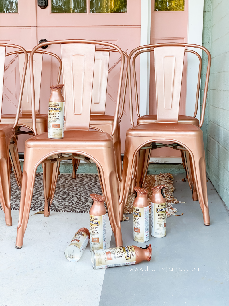 Love this pretty Copper Rose metallic spray painted chairs, so pretty! Such a pretty paint and primer in one color from Rustoleum, a quick afternoon project! Such pretty painted metal chairs. #copperrosechairs #bohostylediningroomchairs #bohochairs #bohostyle #bohodecor #paintedchairtutorial