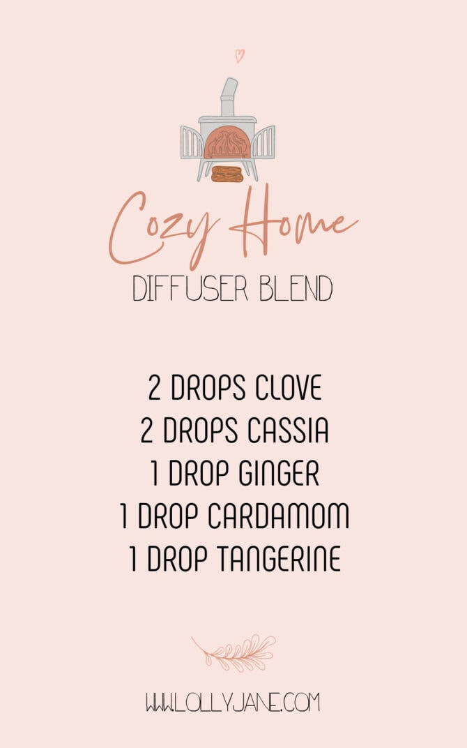 We love this Cozy Home Diffuser Blend, it smells so good! This fall diffuser blend has the perfect amount of spice with a little bit of sweet citrus. Not only will your space smell incredible but the essential oil benefits are good for the whole family, too! #cozyhomediffuserblend #falldiffuserblend #fallblends #fallblendrecipe #doterrafallrecipe #cozyhomeblendrecipe #fallblendusingingcloves #fallblendusingginger