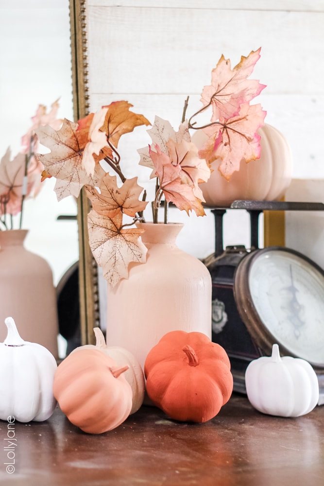 Creamy matte pinks for fall? Yes please! Make over ANY pumpkin with paint + baking powder, read on for the easy DIY! #diypumpkins #paintedpumpkins #bakingpowderpumpkins #falldecor #falldecoration #fallcraft #fallcrafts #pumpkincrafts #pumpkincraft #pumpkin #dollarstorecrafts