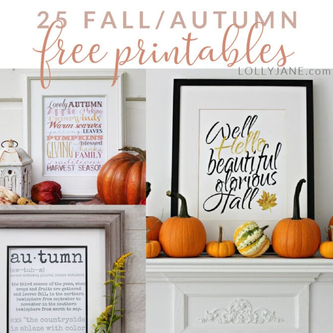 Looking for cheap fall decorations? We've got over 25 fall FREE printables: just download and print for gorgeous art in seconds! #fallprintables #freefallart #freefallprintables #fallprintableart #falldigitaldownloads #freedigitaldownloadsfalldecor #cheapfalldecor #freefalldecorideas #freefalldecorations #freefallprintables
