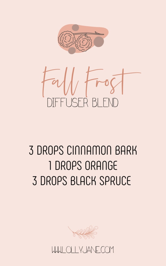 Love this Fall Frost diffuser blend. It's spicy and warm and creates the perfect fall vibe in your home. #fallfrostdiffuserblend #fallfrostessentialoils #essentialoilblendsforfall #fallessentialoils #fallessentialoilblend #fallfrostblendrecipe #fallblendrecipe #diffuserblendsforfall #doterrafallrecipe #doterrafallblends #diffuserrecipeblends