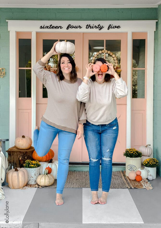 Twins behind LollyJane.com, a DIY home decor site with TONS of free tutorials and affordable home decor ideas... like how to style a fall porch on a budget! #falldecor #falldecorations #fallporch #fallporchhdecor #porchdecor #porchdecorations