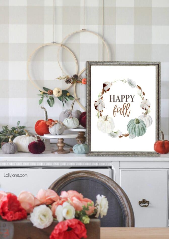 """""""Happy Fall"""" 🍂 FREE printable art for autumn, matches any farmhouse style space! #freeprintable #printableart #fallart #fallprintable #farmhouseprint #farmhousestyle #autumn"""