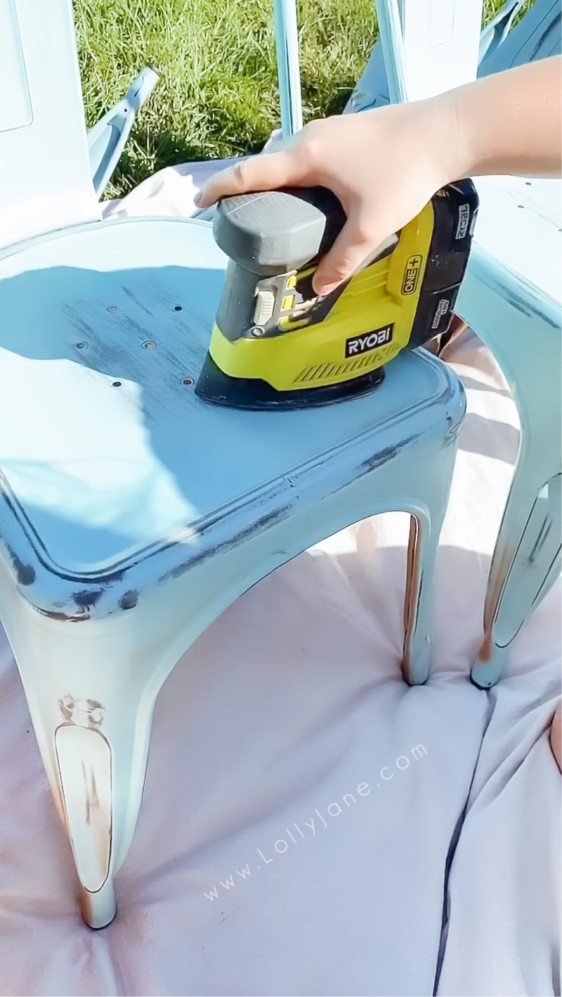 How to prep metal furniture for spray painting: clean then sand before priming and painting. Get our pro tips here! #howtopaintmetalchairs #paintingmetalfurniture #howtospraypaintchairs #howtospraypaintfurniture