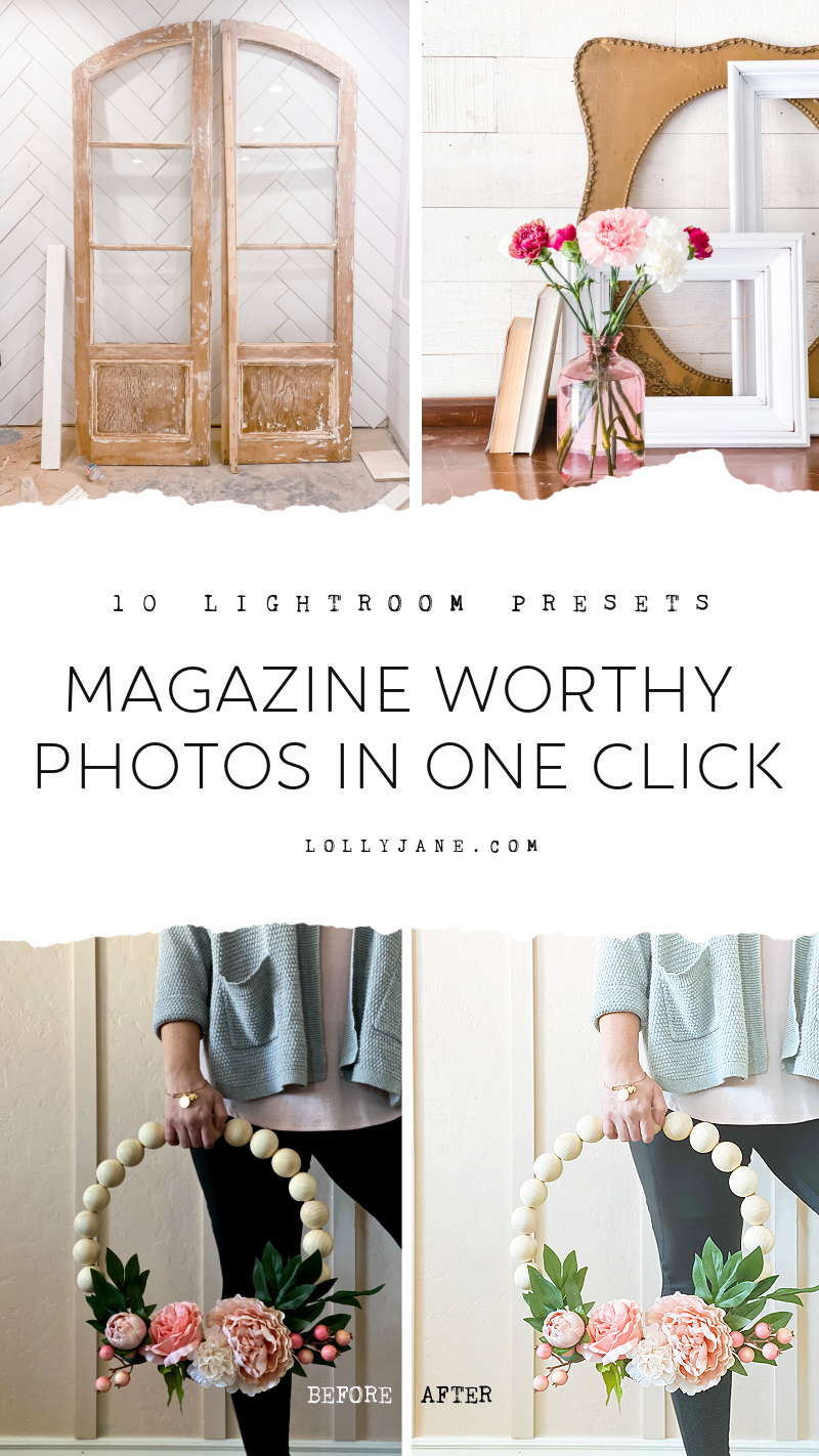 Ever wonder how home decor accounts get such magazine worthy pictures? It's all in the editing! Grab these 10 light and airy presets, perfect for home decor and lifestyle pictures. Editing with one click! #lightroompresets #interiordesignlightroompresets #interiordesignpresets #lifestylepresets #farmhousepresets #bohopresets