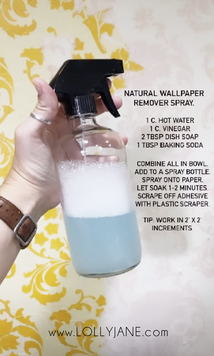 Love this Natural Wallpaper Removal Spray using household ingredients. Soak the wall to remove the wallpaper adhesive with little effort! #naturalwallpaperremover #howtoremovewallpaper #wallpaperremoval #howtoremovewallpaper