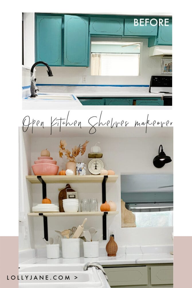 Can you believe this before picture? We transformed a 70's kitchen by painting the counters, removing the upper cabinets and replacing them with these easy to install open kitchen shelves. So clean and fresh, love this minimal decor which allows for quick grab items and pretty decor. #openkitchenshelves #kitchenopenshelves #howtoinstallopenshelves #howtoinstallshelves #blackmodernbracket #modernfarmhousebrackets #metalbrackets #diyshelves #easytoinstallshelves