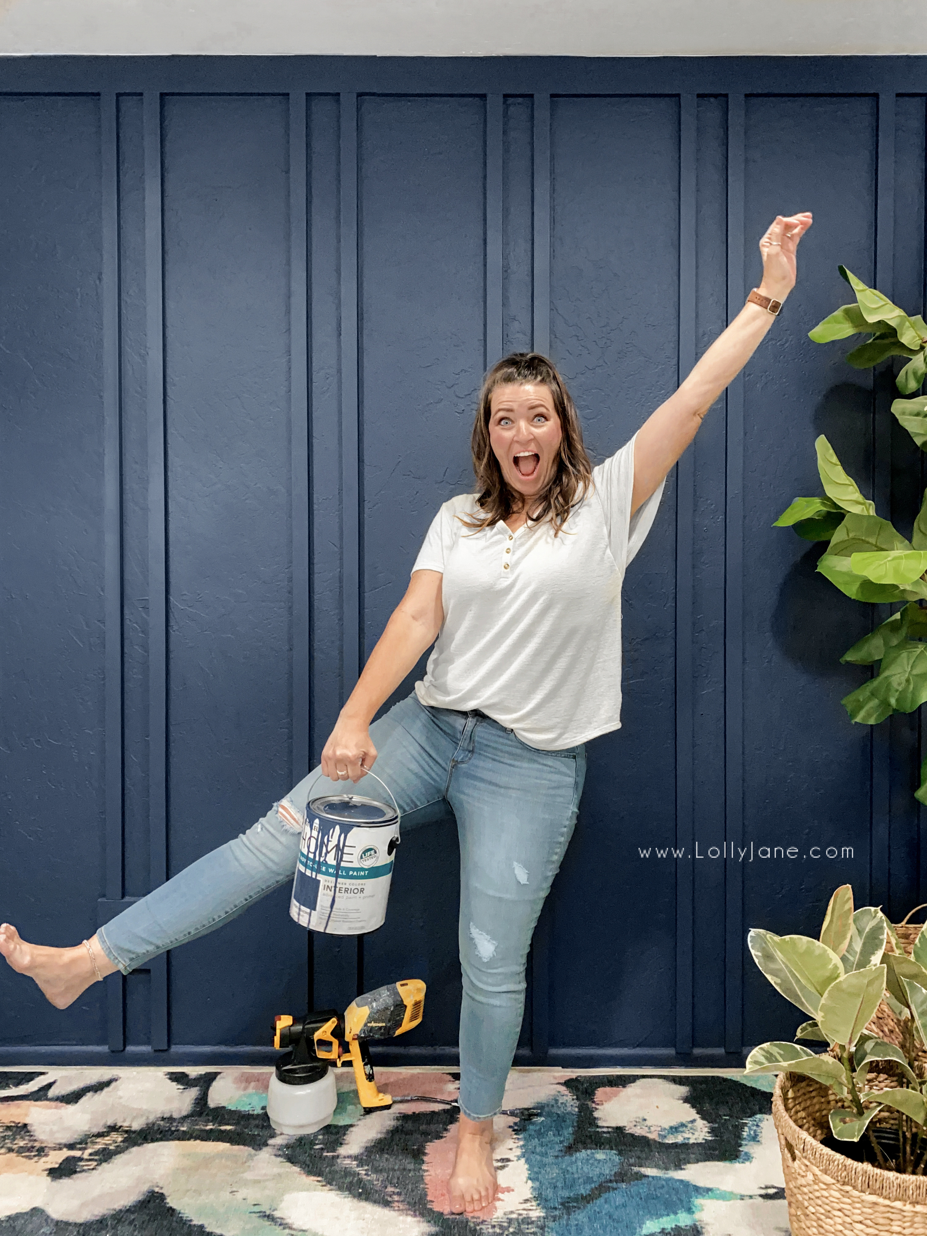 Loving our new double batten wall treatment! Love a trendy wood wall treatment and this double batten doesn't disappoint! #boardandbatten #modernfarmhouse #bohofarmhouse #bohochicdiningroom #howtopaintawall #diydoublebatten #diydoublebattenwalltreatment #howtopaintadiningroomwall #whatwallpainttouseforadiningroom