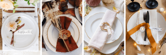 DIY Fall Style Place Card Holders, perfect for an autumn or Thanksgiving get togethers! #thanksgiving #fallparty #placecards #namecards #diy #falldecor #falldecorations
