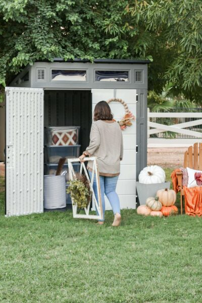 Clearing out indoor storage and moving it outdoors has been a game changer. No more clutter inside AND I get to keep my tool shed, win win! #suncast #storagesolution #shed #sheshed #sheds #shedstorage #outdoorshed #organize #organization #holidaydecorations