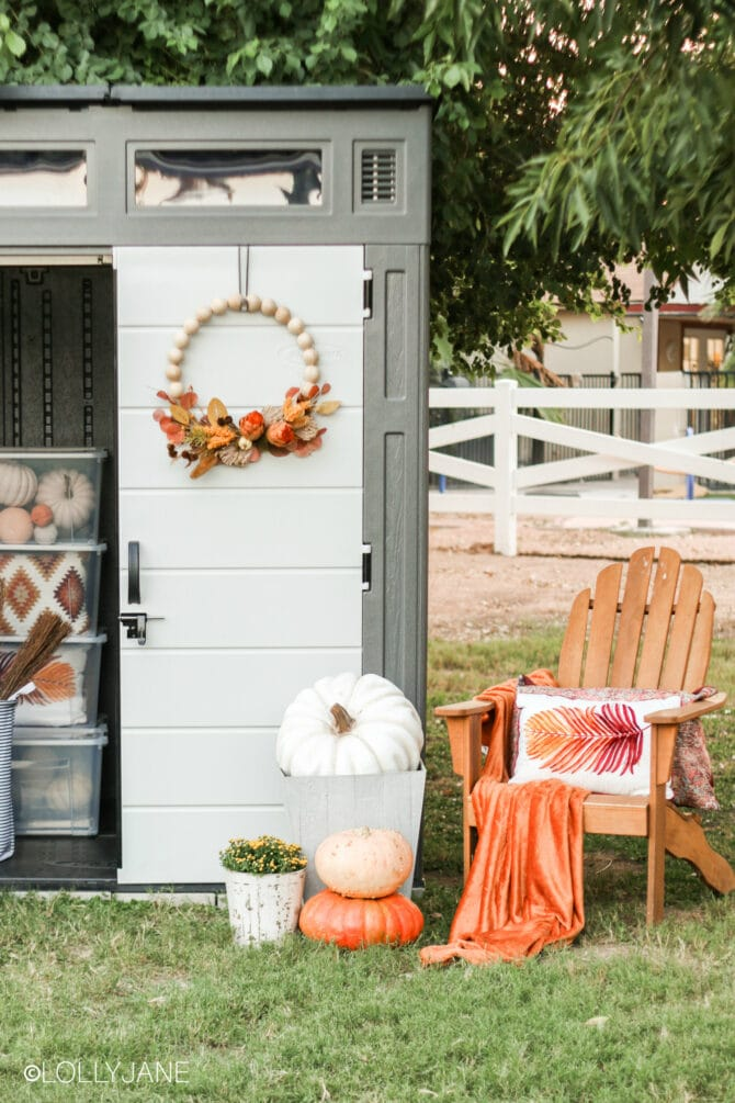 Love this chic outdoor minimalist shed just for my decor, nice to clear up indoor storage! #suncast #storagesolution #shed #sheshed #sheds #shedstorage #outdoorshed #organize #organization #holidaydecorations