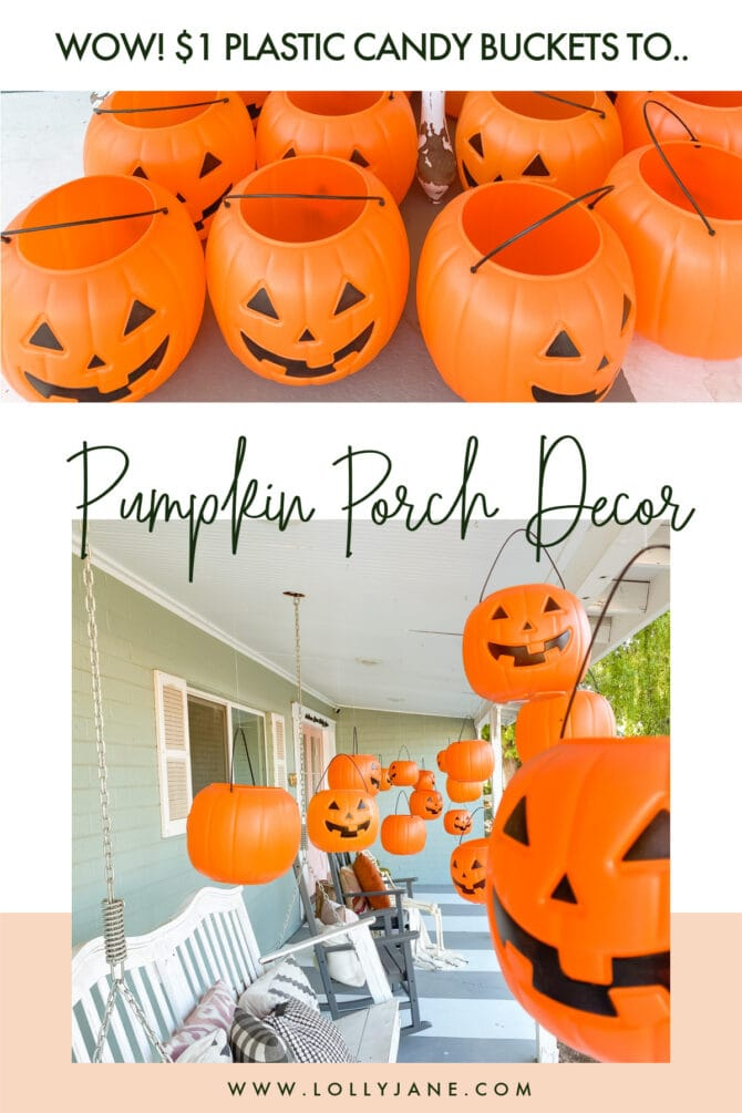 Can you believe how cute these cheap plastic pumpkin candy buckets are as Halloween outdoor decorations? Add remote control tea lights so they glow at night! Such cheap and easy outdoor Halloween decor ideas! #halloweendecor #outdoorhalloweendecor #halloweenporchdecor #outdoorhalloweendecorations #dollarstorepumpkindecor #dollarpumpkincraft #pumpkincandybucketdecor