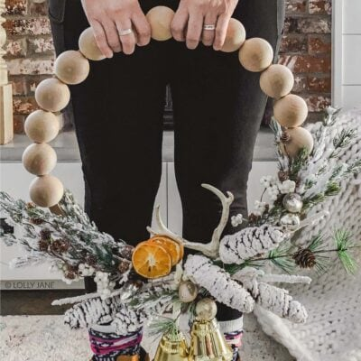 Winter Split Wood Bead Wreath