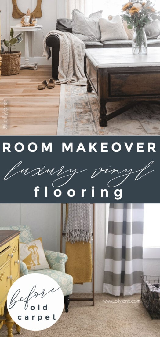 You won't believe how easy it is to lay vinyl flooring with no experience. It's so easy that our kids were helping us with this gorgeous clic luxury vinyl plank flooring. Our family room makeover looks like a million bucks for less than a thousand! #familyroomdecor #familyroomdecorations #familyroommakeover #modernfarmhouse #modernfarmhousefamilyroom #vinylfloors #vinylplankfloors #oakfloors #vinylfloorsfromlowes #procoreplusflooring