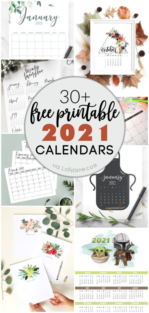We've searched the web for you and have found pretty, fun, creative or just practical 20201 printable calendars that you will love! With over 30 styles, you're sure to find one that suits your own space-- just download + print! #2021calendar #2021 #freeprintable #calendar #2021calendar #2021planner #printable #2021printable