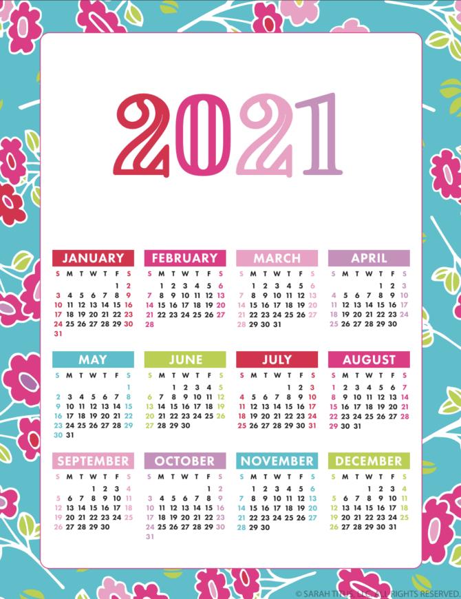 FREE Colorful 2021 Calendar + 20 more options! #2021calendar #2021 #freeprintable #calendar #2021calendar #2021planner #printable #2021printable