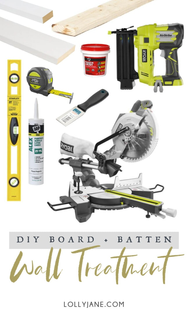 Supplies + Materials to build your own EASY Board and Batten Accent Wall! Transform a wall in no time! #boardandbatten #boardbatten #diy #accentwall #woodoworking
