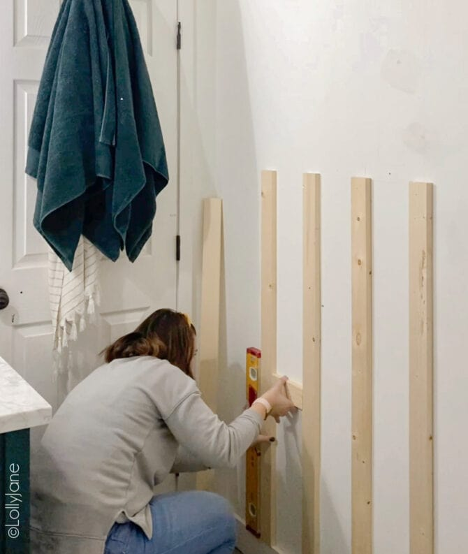 DIY Board and Batten Accent Wall, easy to build! A great project for early wood workers or experiences! #boardandbatten #boardbatten #diy #accentwall #woodoworking