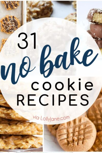 From chocolate to snickerdoodle and every flavor in between, we've got your sweet tooth covered with over 30 NO BAKE COOKIE recipes! #nobakecookies #nobakecookie #nobakedessert #nobakedesserts #cookierecipe #cookiesrecipe #easyrecipe #easyrecipe
