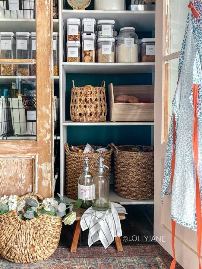 SO easy to get this look and even easier to maintain! Give your pantry a makeover with some a splash of color on the wall + coordinating containers! #pantry #pantrymakeover #pantryrefresh #pantryorganization #organization #homeorganization