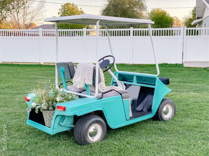 WOW! Such a drastic before and after... this spray paint is almost magic! Click through for the full tutorial! #golfcart #golfcartmakeover #paint #paintingtips #painttips #spraypaint #spraypainting #spraypainttips