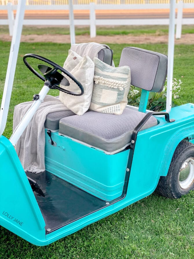 Amazing how a few cans of Colorshot spray paint from Home Depot can transform this from blah to ta-da! Full DIY is linked! #golfcart #golfcartmakeover #paint #paintingtips #painttips #spraypaint #spraypainting #spraypainttips
