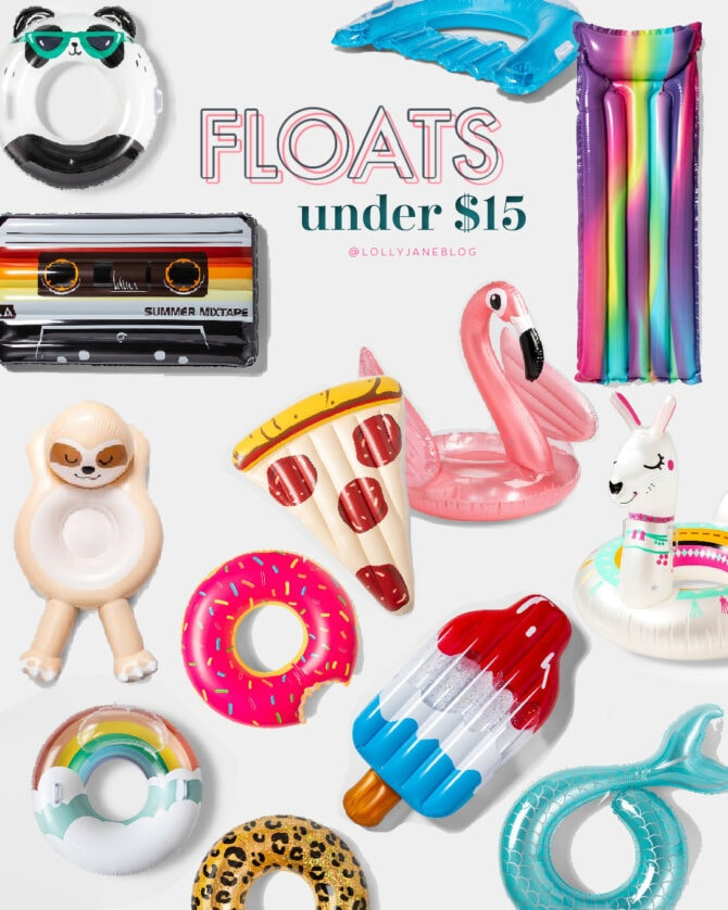 $15 or LESS affordable summer pool floats + tubes perfect for the pool, ocean or any body of water! #summertime #summer #targettdeals #targetdoesitagain #targetsummer #summerdeals #pooltime #poolaccessories