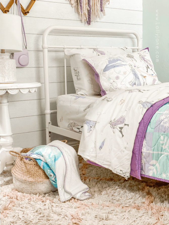 What do little girls love? Seeing their favorite princesses as much as possible. This Frozen 2 room decor will have your little one excited to climb into bed. The cutest Frozen 2 themed bedroom, lots of easy to implement budget friendly ideas!