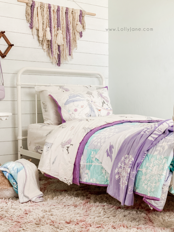 Looking for Frozen 2 bedroom decor ideas? We've got you covered with Frozen 2 sheets that are 100% organic cotton. The matching Frozen 2 comforter has soft, breathable cotton. Plus it's reversible so you can flip it over for a new design. Cutest Frozen 2 bedding!