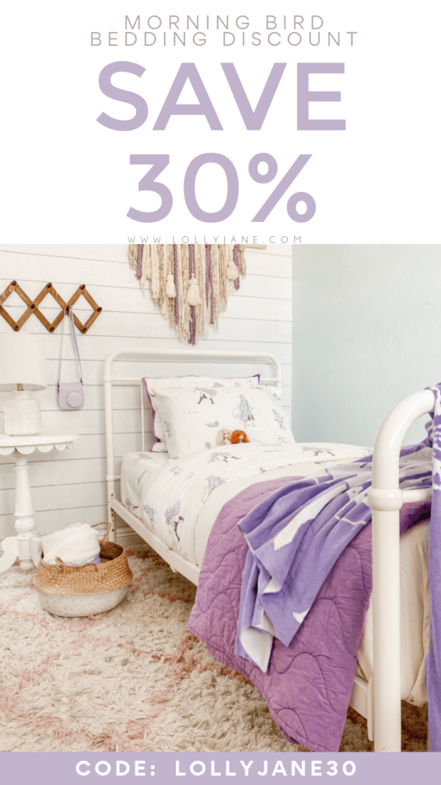 Looking for a Morning Bird bedding discount? Their sheets are woven from pure cotton, these layers will keep them warm and cozy. Use this Morning Bird code LOLLYJANE30 for 30% off Morning Bird bedding!