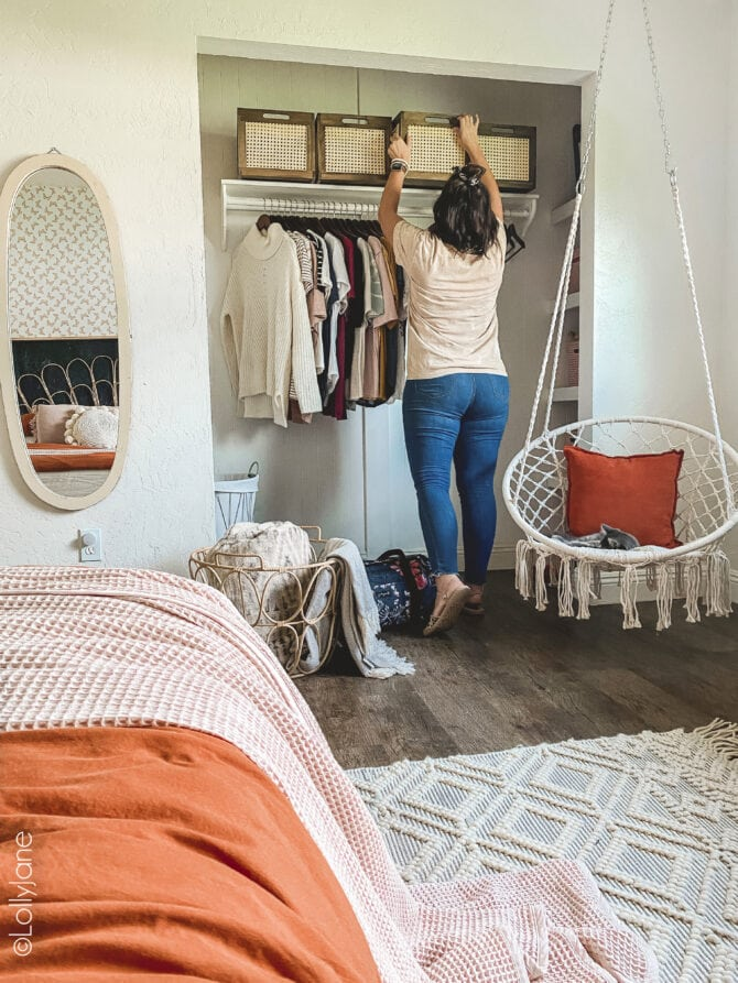 Easy tips + tricks to make the most of a bedroom that doubles as a guest bedroom! Cute boho decor bonus!