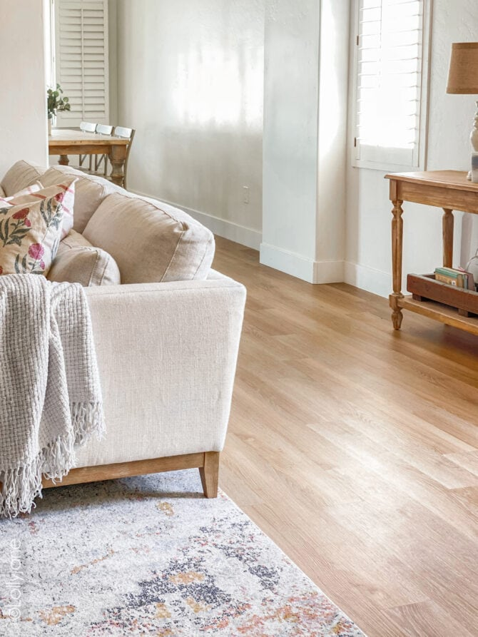 Warm and inviting oak Luxury Vinyl Plank Flooring, love the instant warmth this finish brings to this craftsman style home!