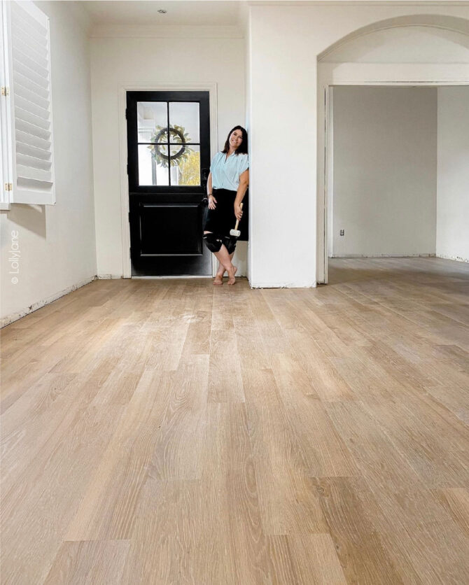 Newly installed LVP flooring... a girl did this! YOU CAN, TOO! See how easy it is, DIYers of any level can totally tackle this project!