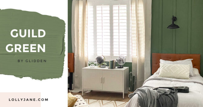 Love this perfect shade of green in a chic modern farmhouse style bedroom! Guild Green by Glidden at Walmart for the win!