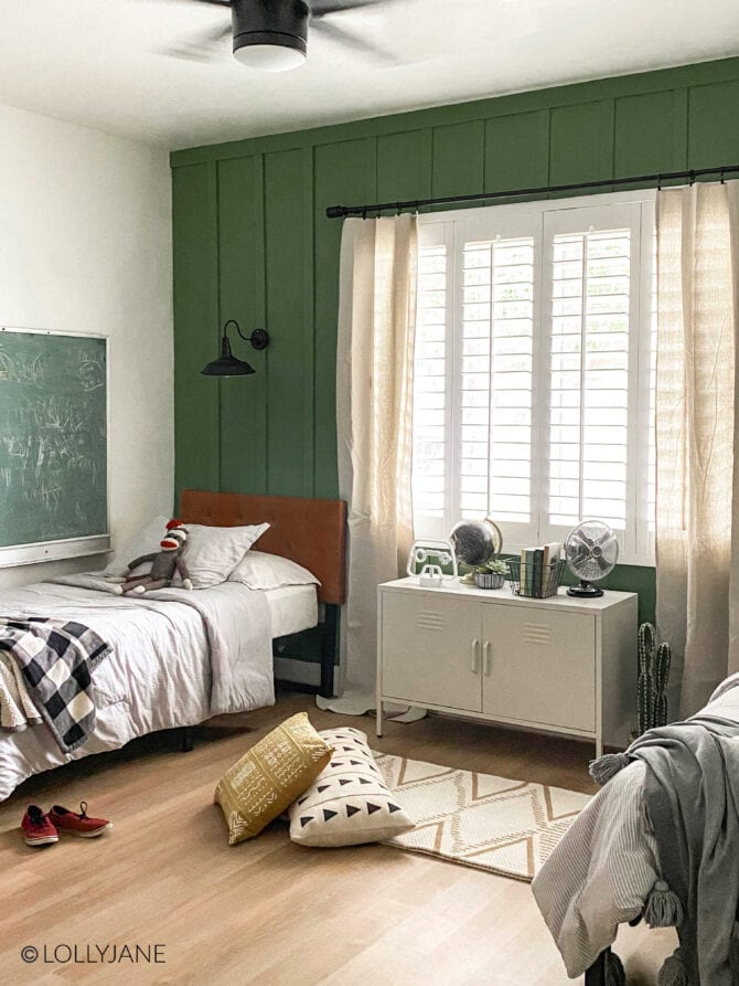 Simple shared modern farmhouse boys room, love all of the goods from Walmart! Easy to style AND affordable!
