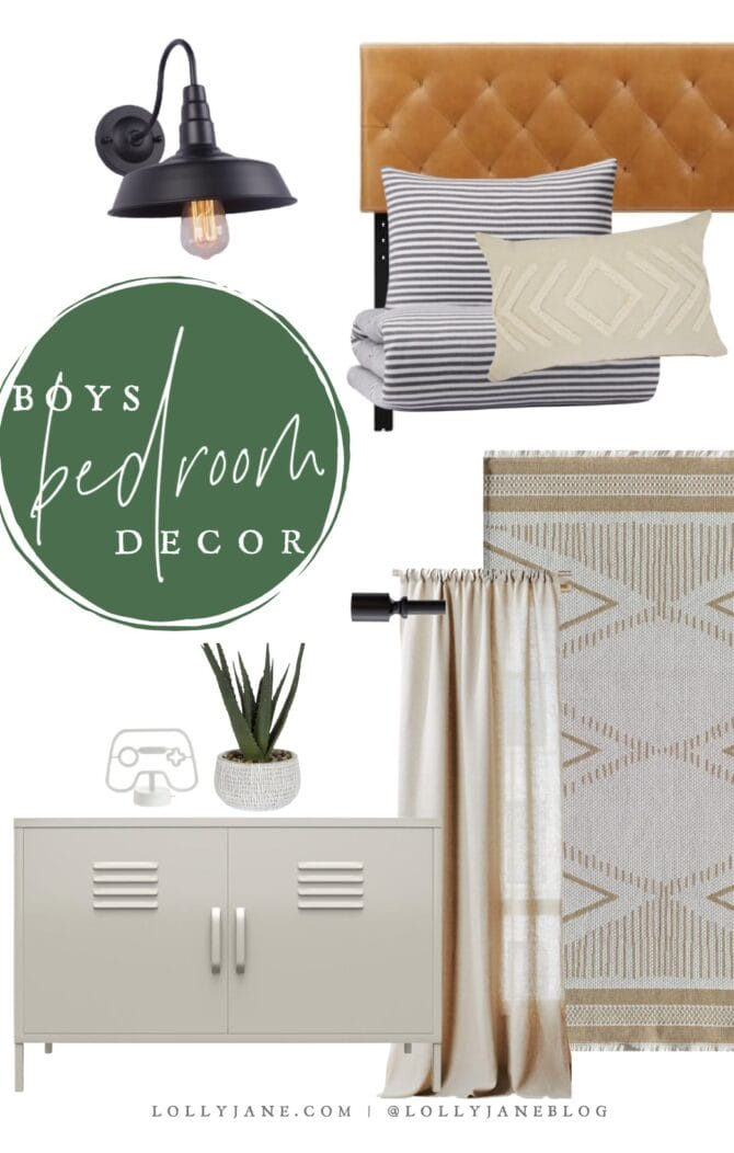 Mood board for a chic modern farmhouse style bedroom with the cutest (and affordable!) goods from Walmart. SO pretty!