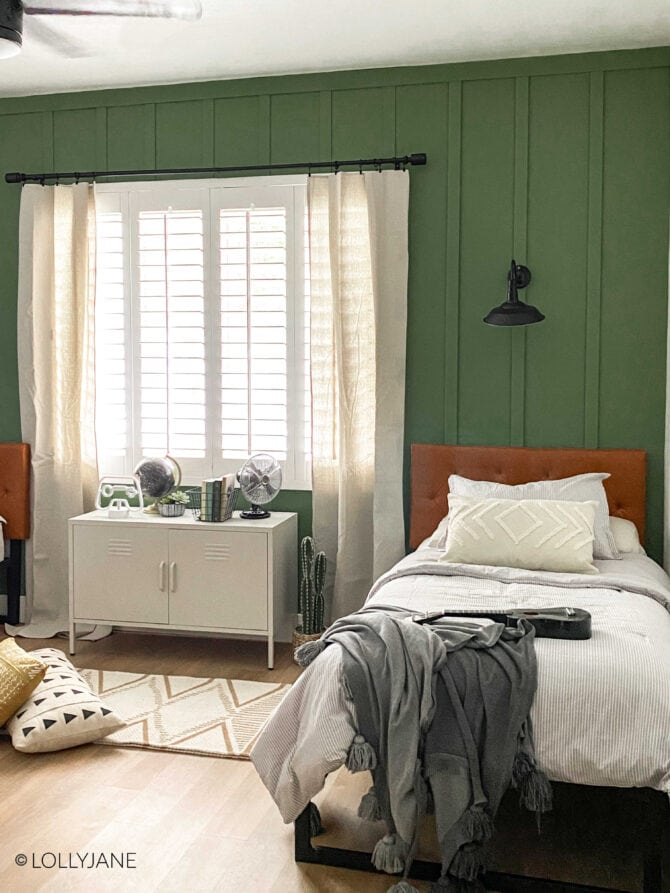 Love this wall treatment and color! Cute ideas for a shared modern farmhouse bedroom!